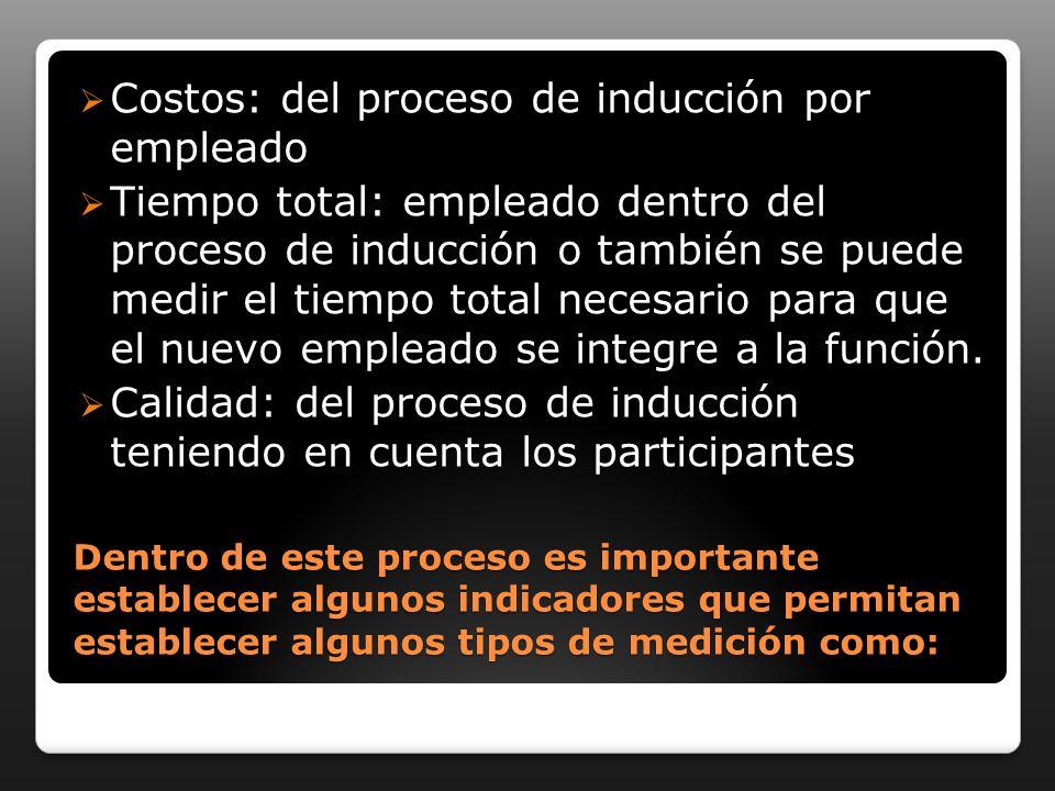 Dentro de este proceso es importante establecer algunos indicadores que permitan establecer algunos tipos de medición como: Costos: del proceso de inducción por empleado Tiempo total: empleado dentro del proceso de inducción o también se puede medir el tiempo total necesario para que el nuevo empleado se integre a la función.