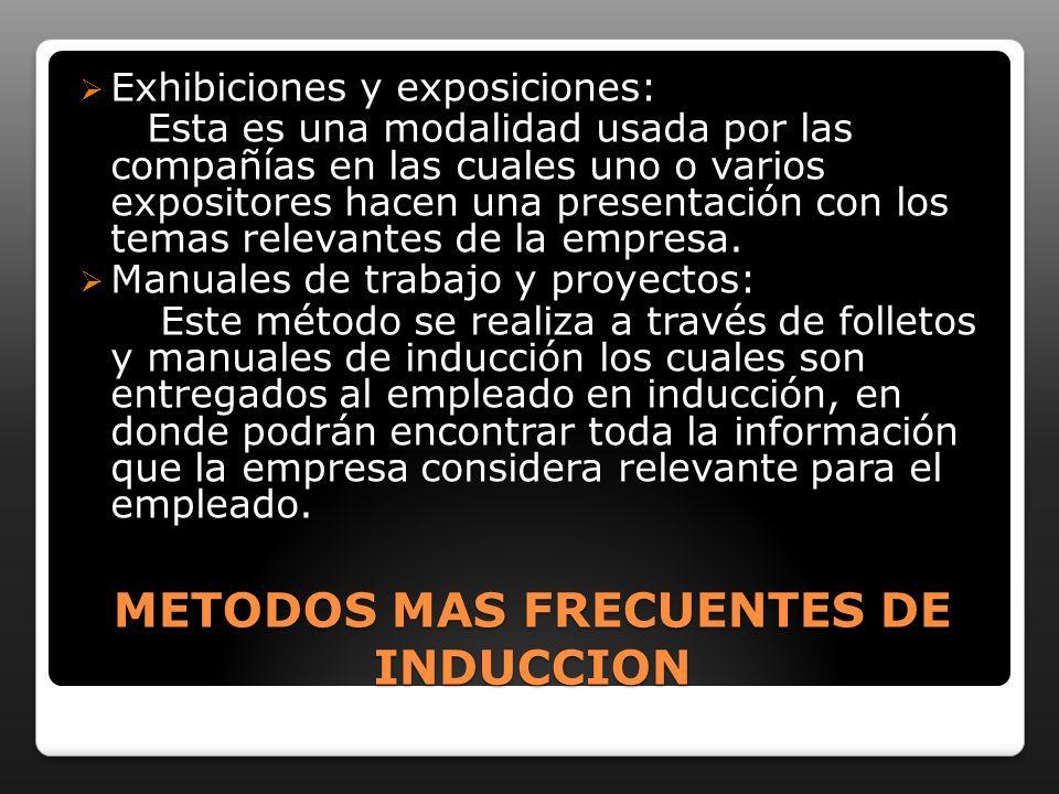 METODOS MAS FRECUENTES DE INDUCCION Exhibiciones y exposiciones: Esta es una modalidad usada por las compañías en las cuales uno o varios expositores hacen una presentación con los temas relevantes de la empresa.