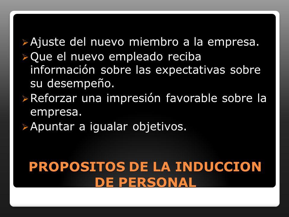 PROPOSITOS DE LA INDUCCION DE PERSONAL Ajuste del nuevo miembro a la empresa.