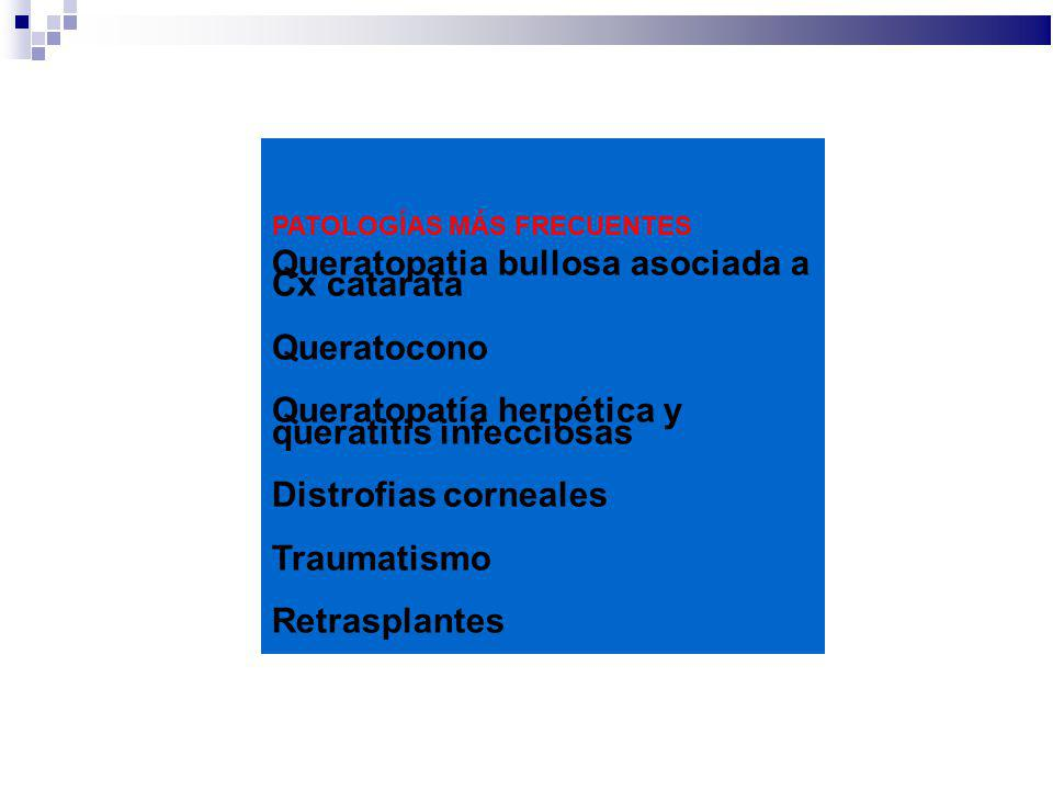 PATOLOGÍAS MÁS FRECUENTES Queratopatia bullosa asociada a Cx catarata Queratocono Queratopatía herpética y queratitis infecciosas Distrofias corneales
