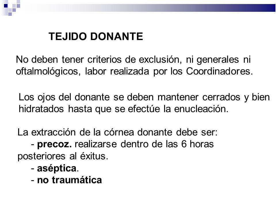 TEJIDO DONANTE No deben tener criterios de exclusión, ni generales ni oftalmológicos, labor realizada por los Coordinadores. Los ojos del donante se d