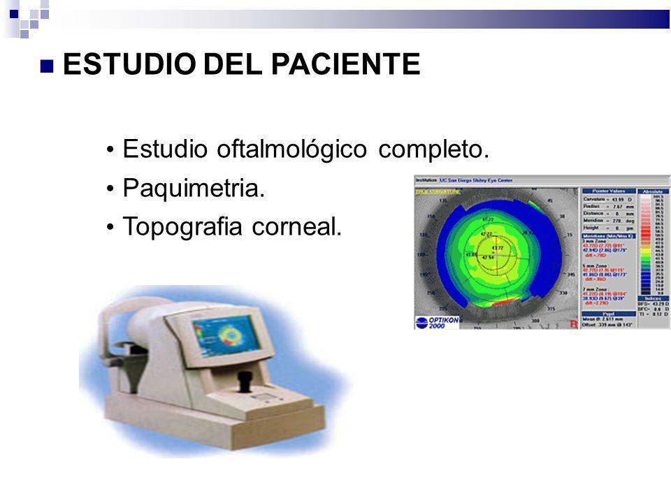 ESTUDIO DEL PACIENTE Estudio oftalmológico completo. Paquimetria. Topografia corneal.