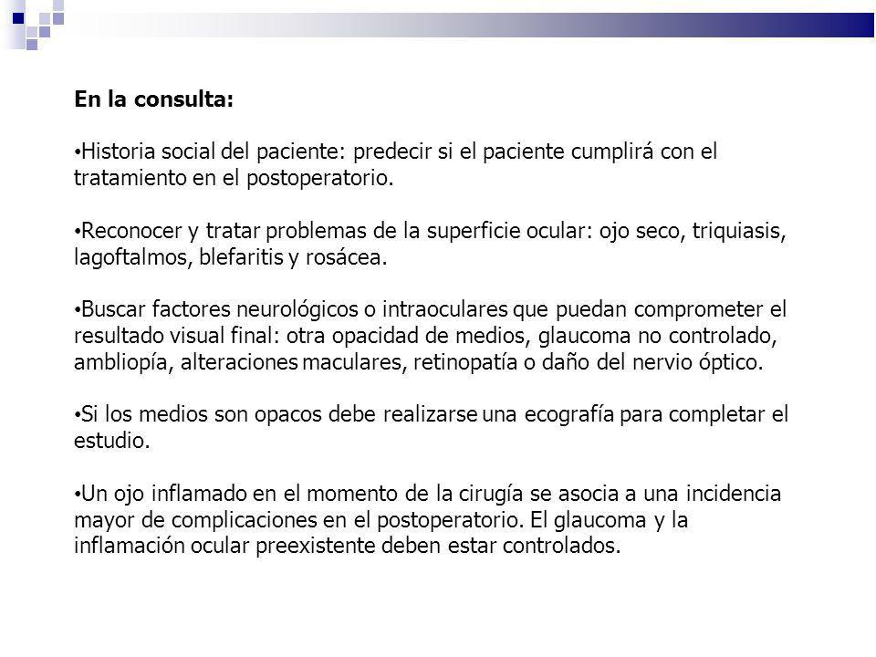 En la consulta: Historia social del paciente: predecir si el paciente cumplirá con el tratamiento en el postoperatorio. Reconocer y tratar problemas d