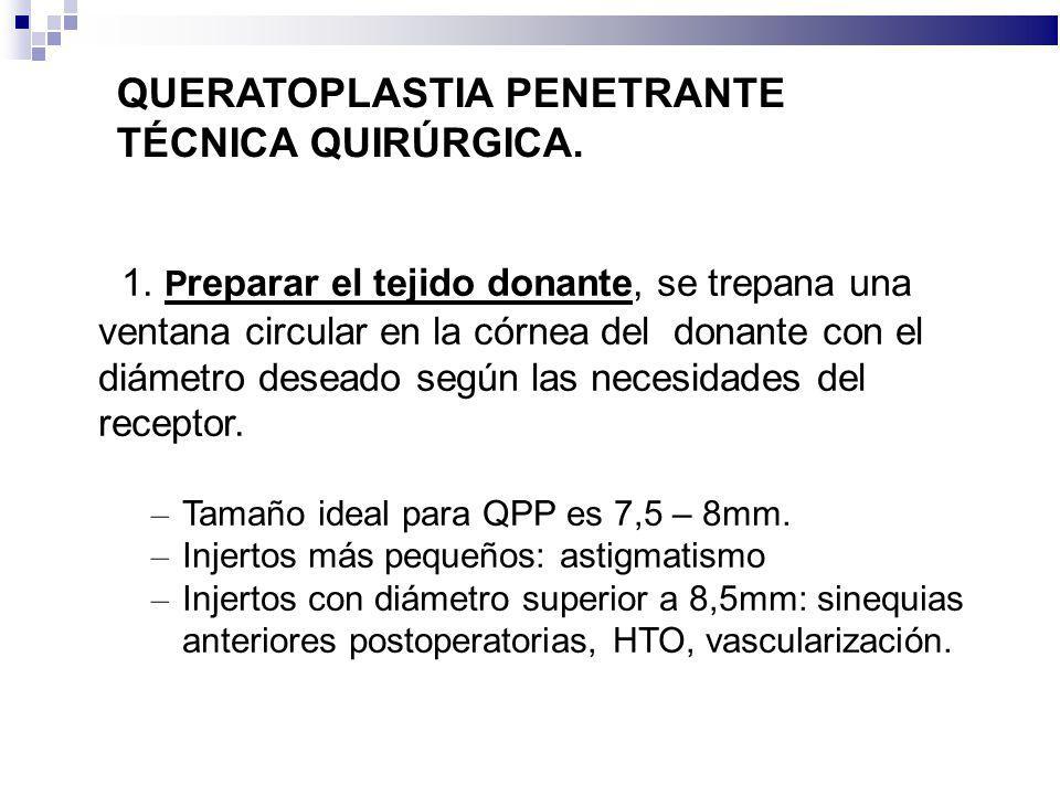 QUERATOPLASTIA PENETRANTE TÉCNICA QUIRÚRGICA. 1. P reparar el tejido donante, se trepana una ventana circular en la córnea del donante con el diámetro