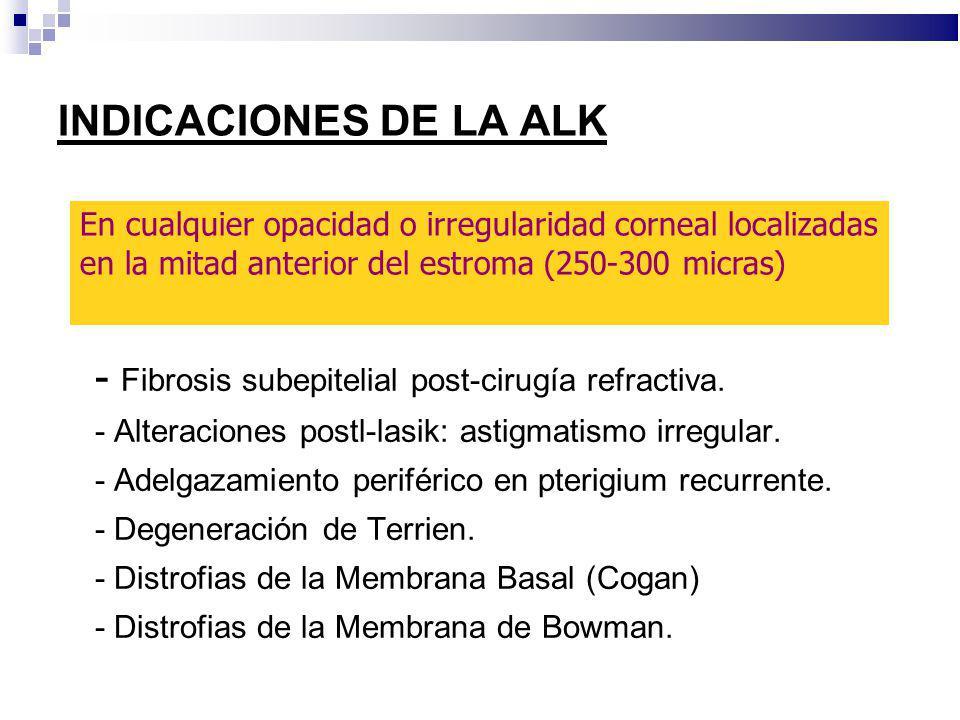 INDICACIONES DE LA ALK - Fibrosis subepitelial post-cirugía refractiva. - Alteraciones postl-lasik: astigmatismo irregular. - Adelgazamiento periféric