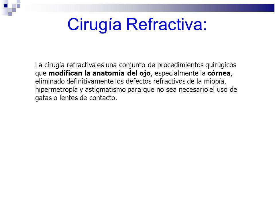 Cirugía Refractiva: La cirugía refractiva es una conjunto de procedimientos quirúgicos que modifican la anatomía del ojo, especialmente la córnea, eli