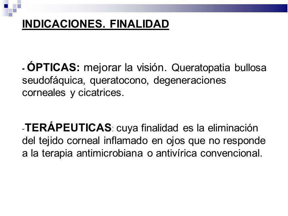 INDICACIONES. FINALIDAD - ÓPTICAS: mejorar la visión. Queratopatia bullosa seudofáquica, queratocono, degeneraciones corneales y cicatrices. - TERÁPEU