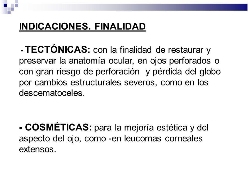 INDICACIONES. FINALIDAD - TECTÓNICAS : con la finalidad de restaurar y preservar la anatomía ocular, en ojos perforados o con gran riesgo de perforaci