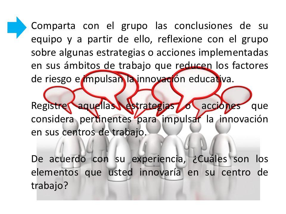 Comparta con el grupo las conclusiones de su equipo y a partir de ello, reflexione con el grupo sobre algunas estrategias o acciones implementadas en