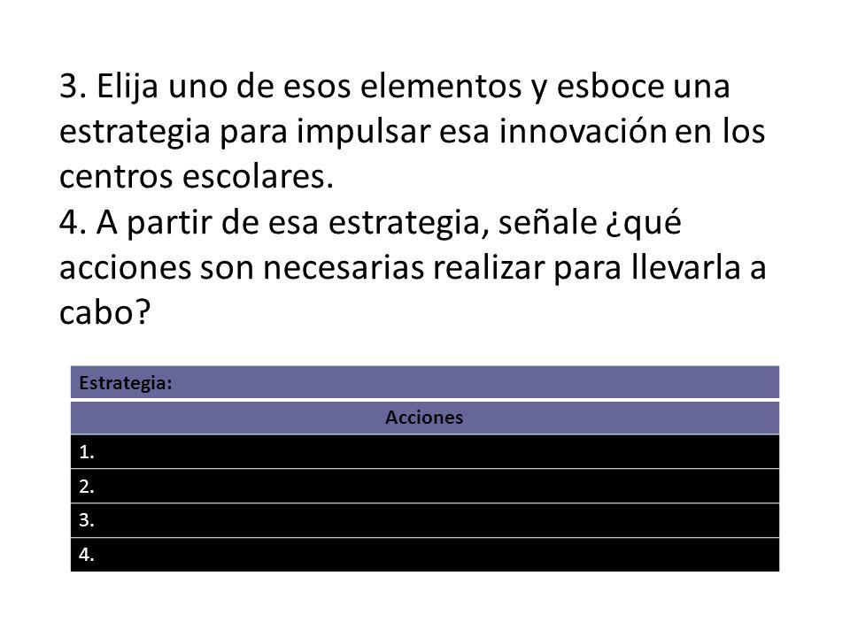 3. Elija uno de esos elementos y esboce una estrategia para impulsar esa innovación en los centros escolares. 4. A partir de esa estrategia, señale ¿q