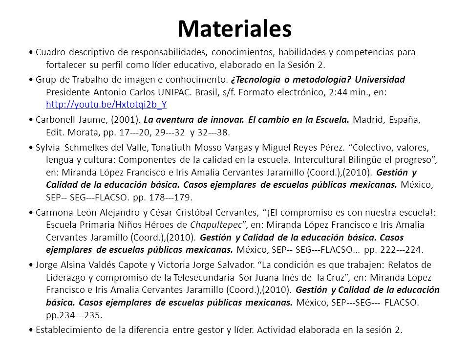 Materiales Cuadro descriptivo de responsabilidades, conocimientos, habilidades y competencias para fortalecer su perfil como líder educativo, elaborad