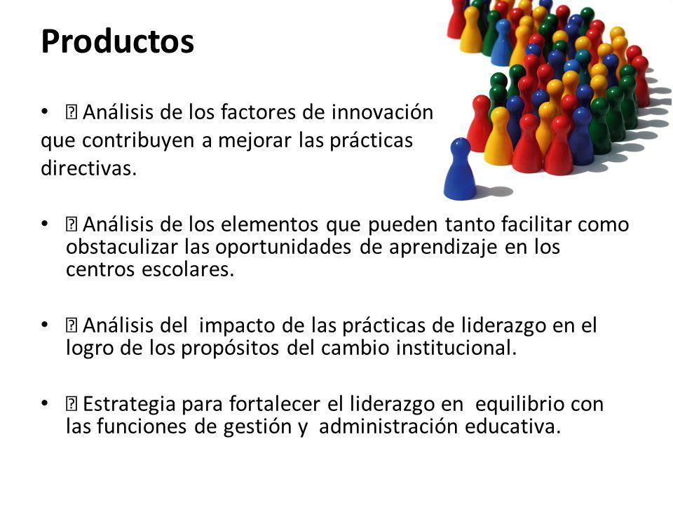 Productos • Análisis de los factores de innovación que contribuyen a mejorar las prácticas directivas. • Análisis de los elementos que pueden tanto fa