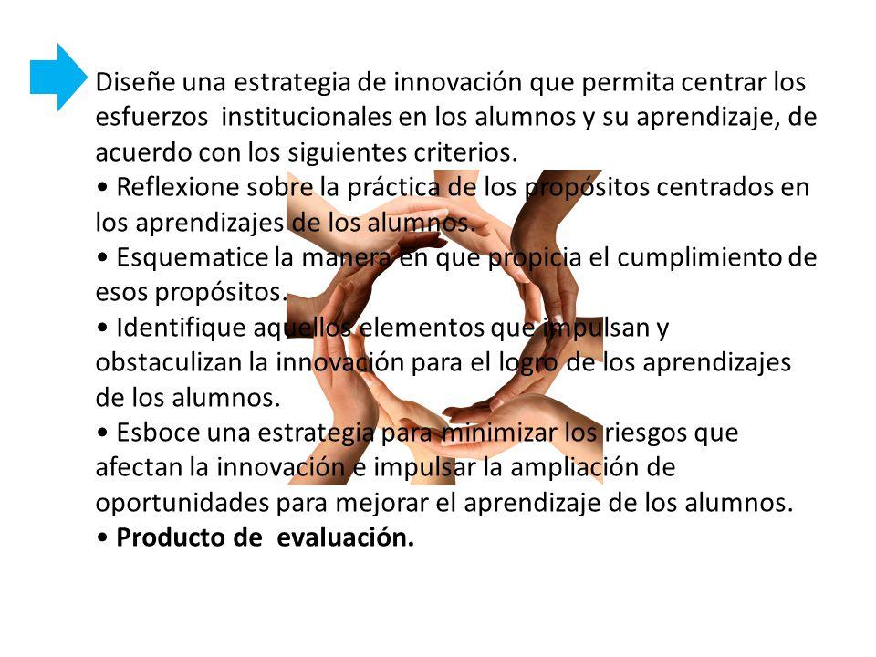 Diseñe una estrategia de innovación que permita centrar los esfuerzos institucionales en los alumnos y su aprendizaje, de acuerdo con los siguientes c