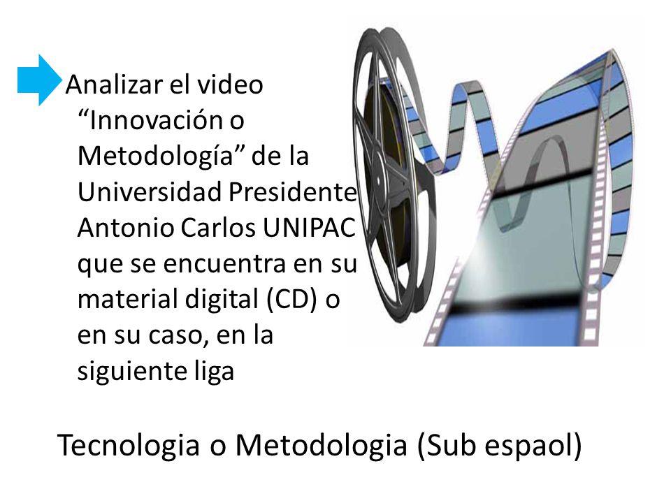 Analizar el video Innovación o Metodología de la Universidad Presidente Antonio Carlos UNIPAC que se encuentra en su material digital (CD) o en su cas
