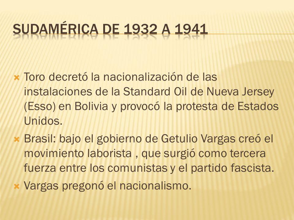 Toro decretó la nacionalización de las instalaciones de la Standard Oil de Nueva Jersey (Esso) en Bolivia y provocó la protesta de Estados Unidos. Bra