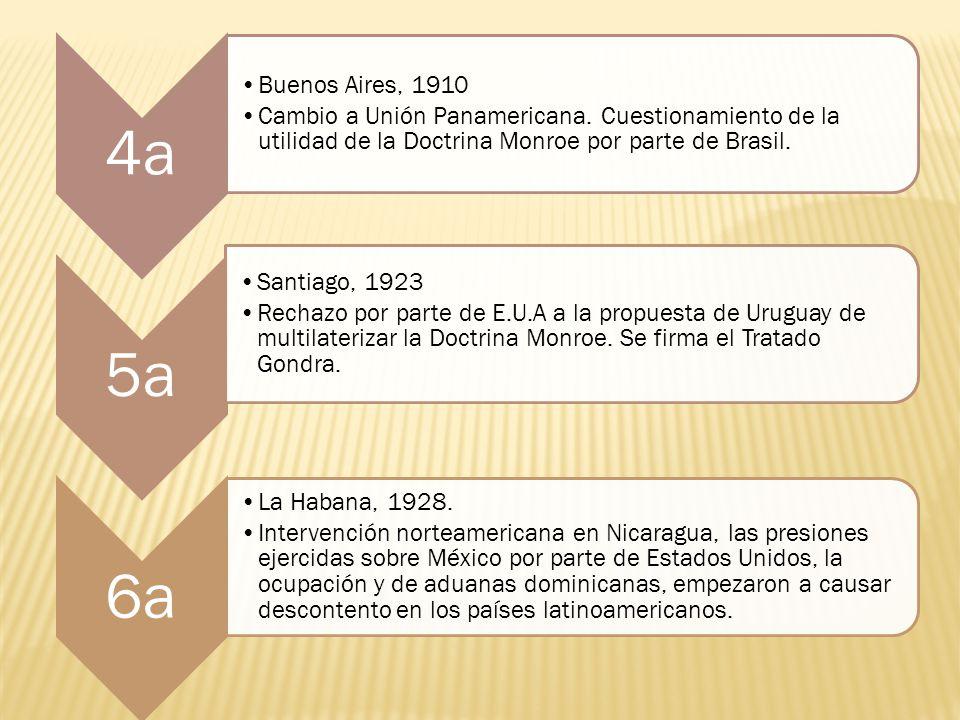 4a Buenos Aires, 1910 Cambio a Unión Panamericana. Cuestionamiento de la utilidad de la Doctrina Monroe por parte de Brasil. 5a Santiago, 1923 Rechazo