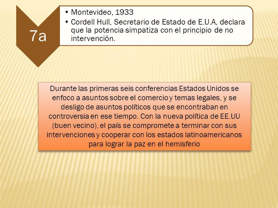 7a Montevideo, 1933 Cordell Hull, Secretario de Estado de E.U.A, declara que la potencia simpatiza con el principio de no intervención. Durante las pr