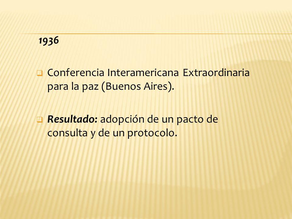 1936 Conferencia Interamericana Extraordinaria para la paz (Buenos Aires). Resultado: adopción de un pacto de consulta y de un protocolo.