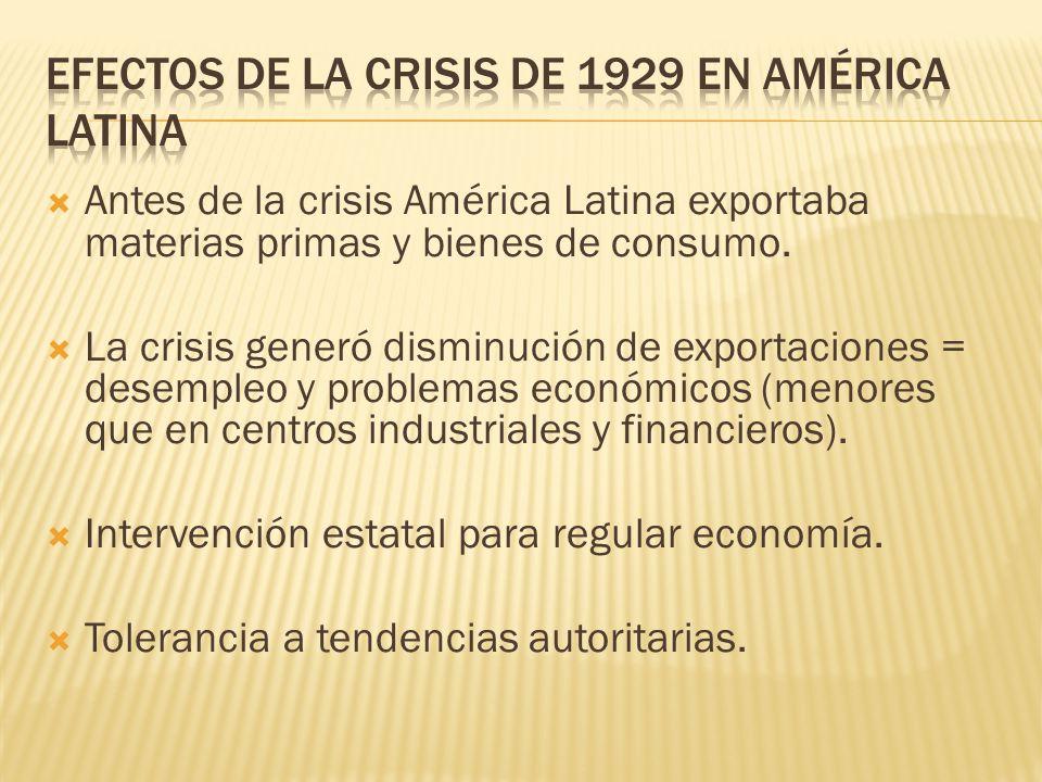 Antes de la crisis América Latina exportaba materias primas y bienes de consumo. La crisis generó disminución de exportaciones = desempleo y problemas