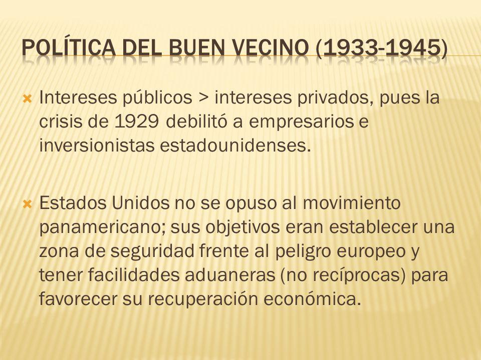 Intereses públicos > intereses privados, pues la crisis de 1929 debilitó a empresarios e inversionistas estadounidenses. Estados Unidos no se opuso al
