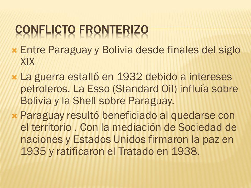 Entre Paraguay y Bolivia desde finales del siglo XIX La guerra estalló en 1932 debido a intereses petroleros. La Esso (Standard Oil) influía sobre Bol