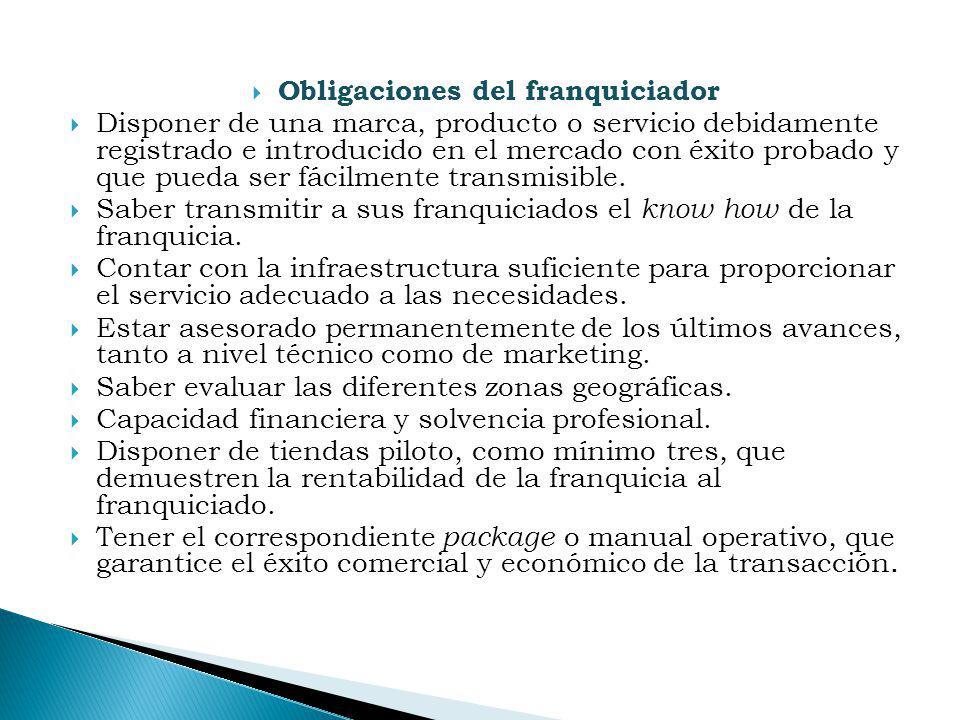 Obligaciones del franquiciador Disponer de una marca, producto o servicio debidamente registrado e introducido en el mercado con éxito probado y que p