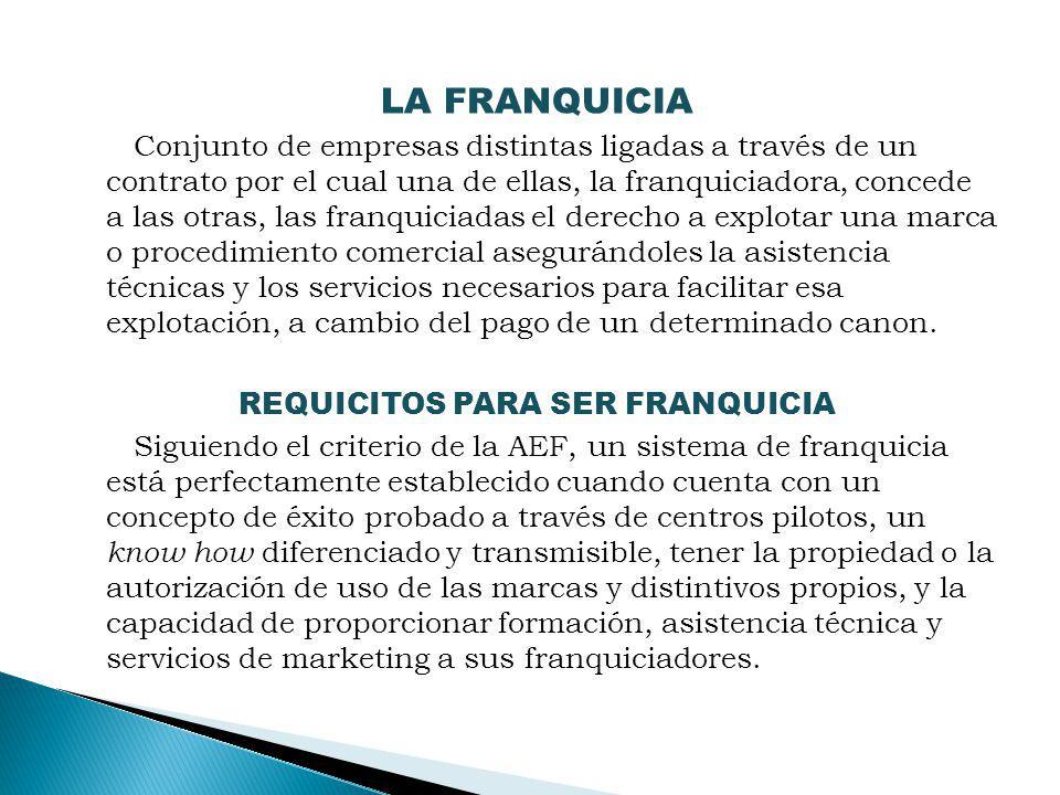 LA FRANQUICIA Conjunto de empresas distintas ligadas a través de un contrato por el cual una de ellas, la franquiciadora, concede a las otras, las fra