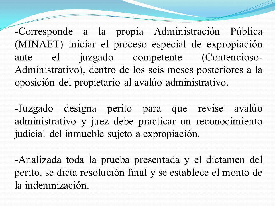 -Corresponde a la propia Administración Pública (MINAET) iniciar el proceso especial de expropiación ante el juzgado competente (Contencioso- Administ