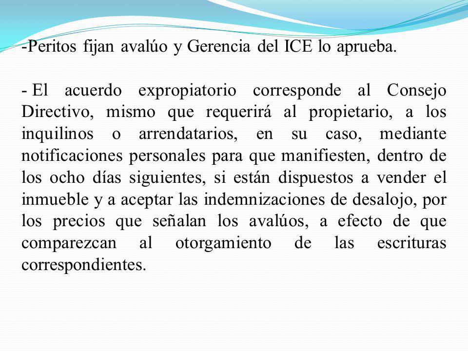 -Peritos fijan avalúo y Gerencia del ICE lo aprueba. - El acuerdo expropiatorio corresponde al Consejo Directivo, mismo que requerirá al propietario,