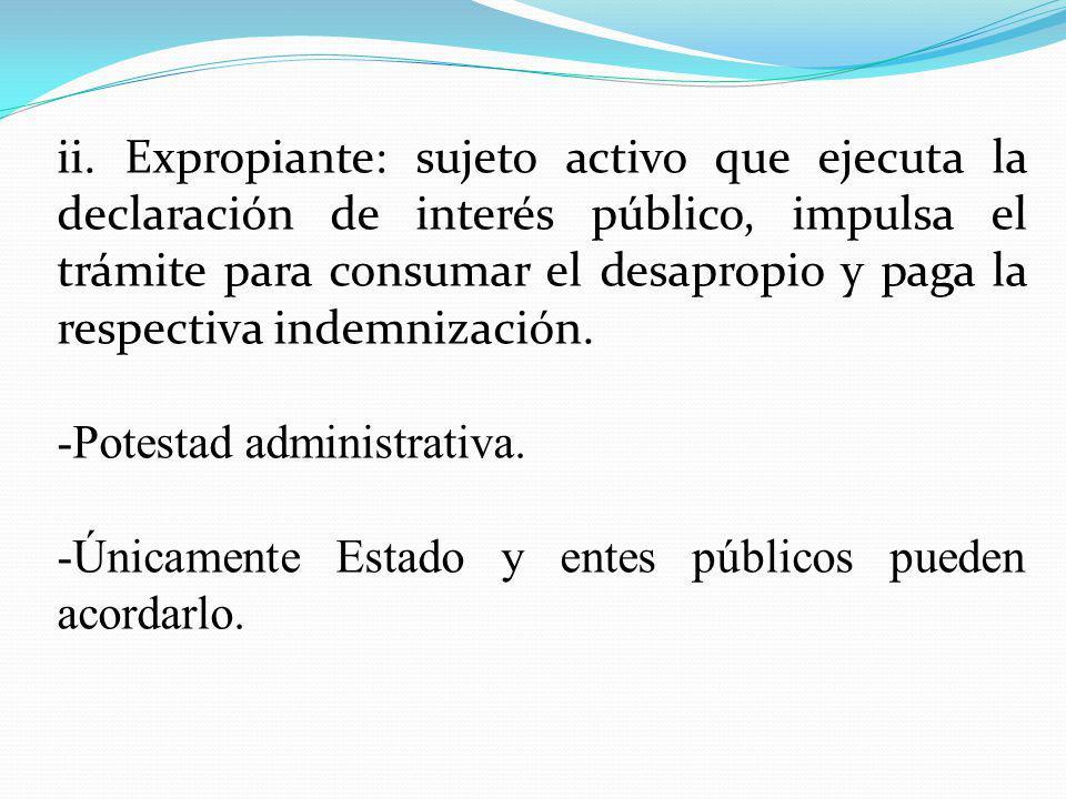 ii. Expropiante: sujeto activo que ejecuta la declaración de interés público, impulsa el trámite para consumar el desapropio y paga la respectiva inde
