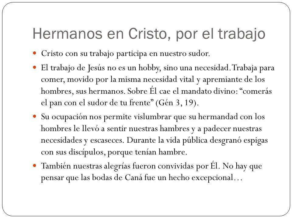 Hermanos en Cristo, por el trabajo Cristo con su trabajo participa en nuestro sudor. El trabajo de Jesús no es un hobby, sino una necesidad. Trabaja p