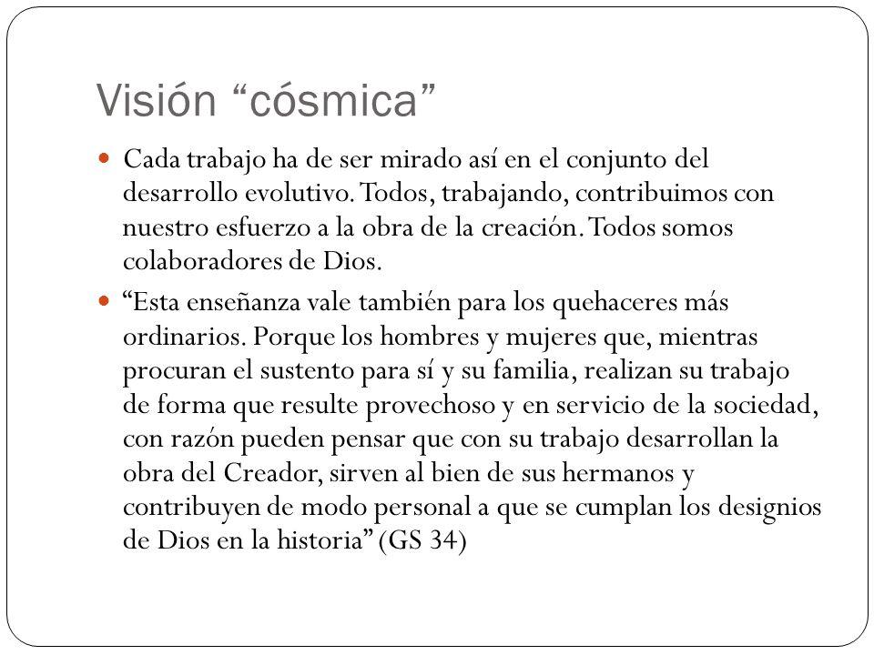 Visión cósmica Cada trabajo ha de ser mirado así en el conjunto del desarrollo evolutivo.
