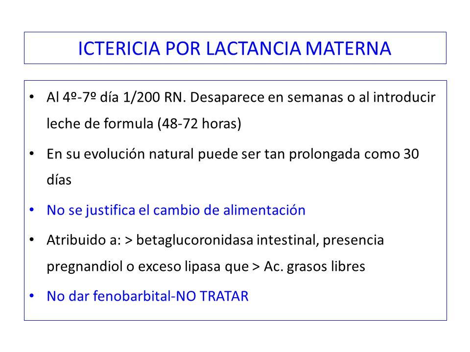 ICTERICIA POR LACTANCIA MATERNA Al 4º-7º día 1/200 RN.