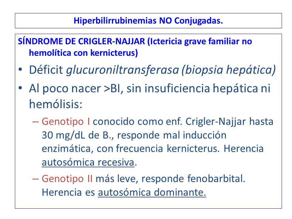 SÍNDROME DE CRIGLER-NAJJAR (Ictericia grave familiar no hemolítica con kernicterus) Déficit glucuroniltransferasa (biopsia hepática) Al poco nacer >BI, sin insuficiencia hepática ni hemólisis: – Genotipo I conocido como enf.