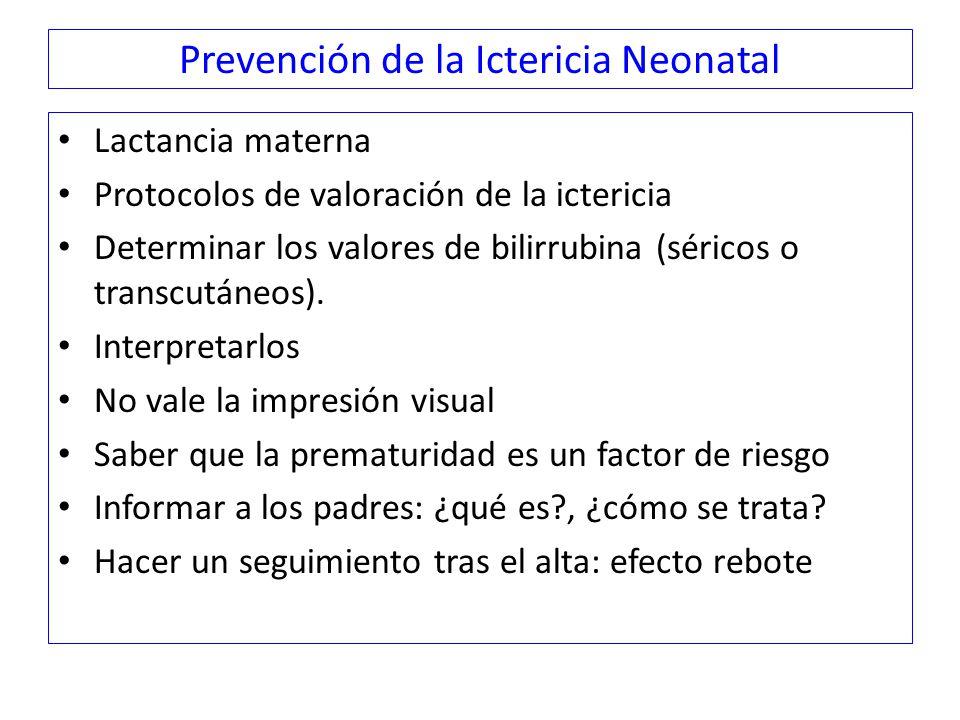 Prevención de la Ictericia Neonatal Lactancia materna Protocolos de valoración de la ictericia Determinar los valores de bilirrubina (séricos o transcutáneos).
