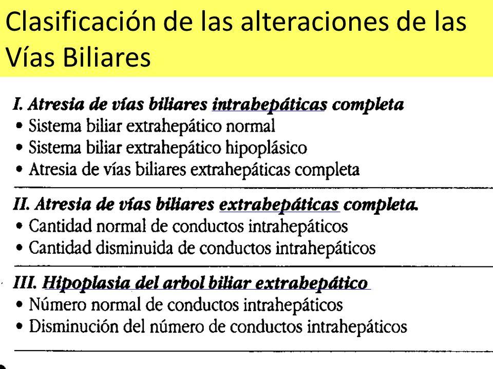 Clasificación de las alteraciones de las Vías Biliares