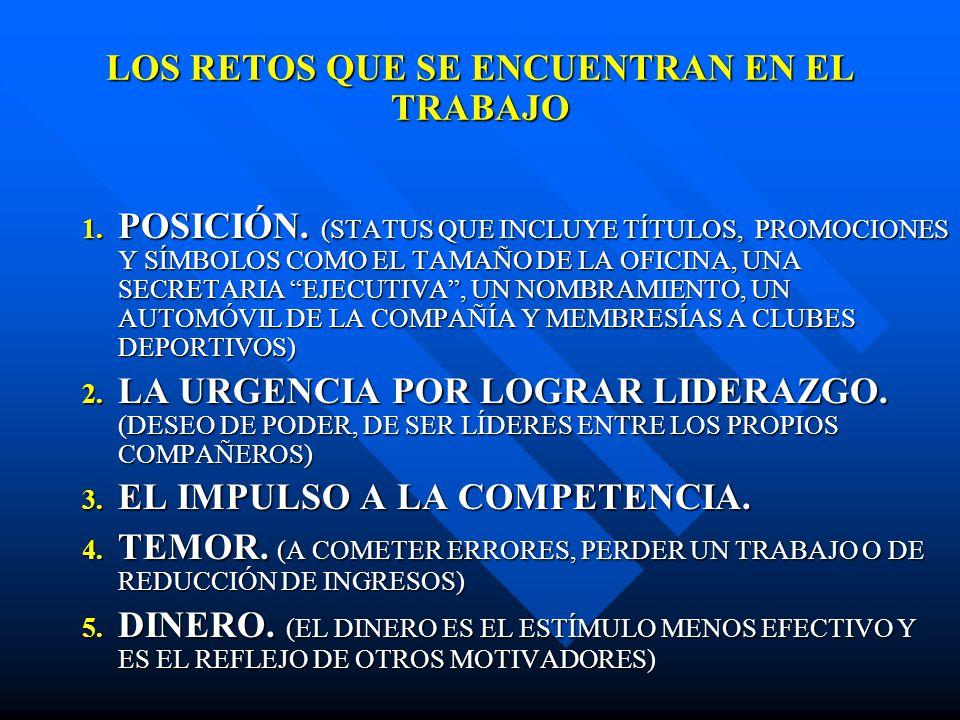 LOS RETOS QUE SE ENCUENTRAN EN EL TRABAJO 1. POSICIÓN. (STATUS QUE INCLUYE TÍTULOS, PROMOCIONES Y SÍMBOLOS COMO EL TAMAÑO DE LA OFICINA, UNA SECRETARI