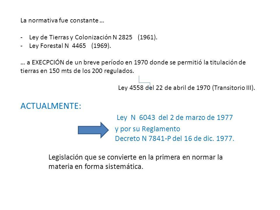 La normativa fue constante … -Ley de Tierras y Colonización N 2825 (1961). -Ley Forestal N 4465 (1969). … a EXECPCIÓN de un breve período en 1970 dond