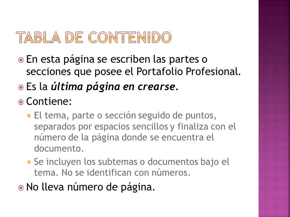 En esta página se escriben las partes o secciones que posee el Portafolio Profesional. Es la última página en crearse. Contiene: El tema, parte o secc