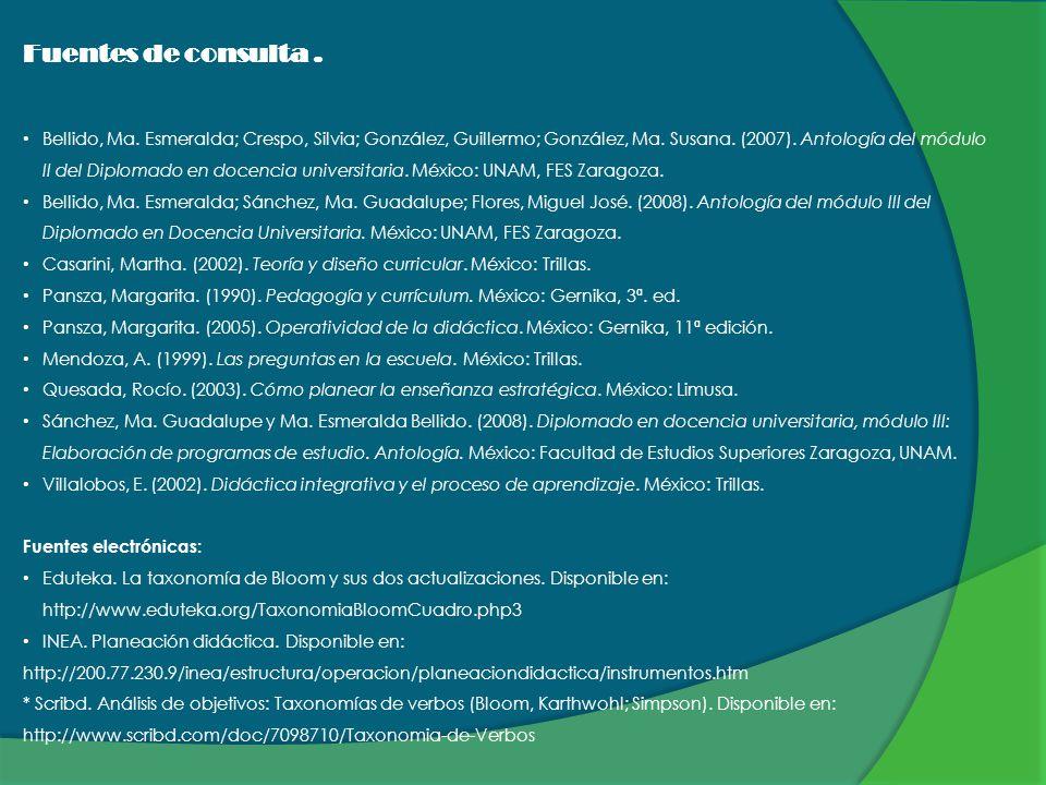 Fuentes de consulta. Bellido, Ma. Esmeralda; Crespo, Silvia; González, Guillermo; González, Ma. Susana. (2007). Antología del módulo II del Diplomado