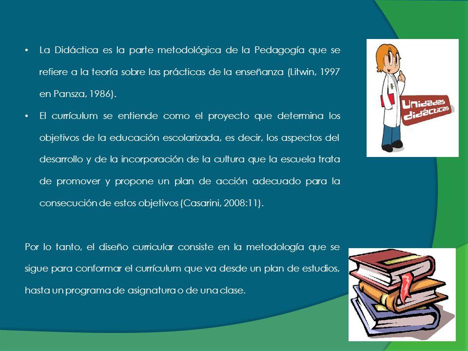 La Didáctica es la parte metodológica de la Pedagogía que se refiere a la teoría sobre las prácticas de la enseñanza (Litwin, 1997 en Pansza, 1986). E