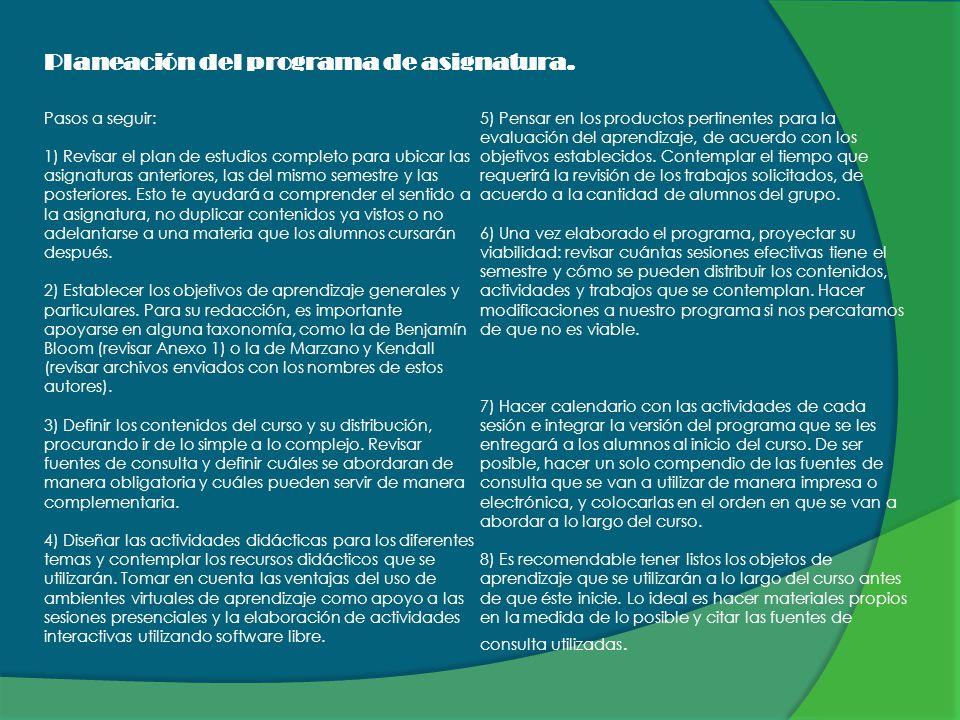 Planeación del programa de asignatura. Pasos a seguir: 1) Revisar el plan de estudios completo para ubicar las asignaturas anteriores, las del mismo s