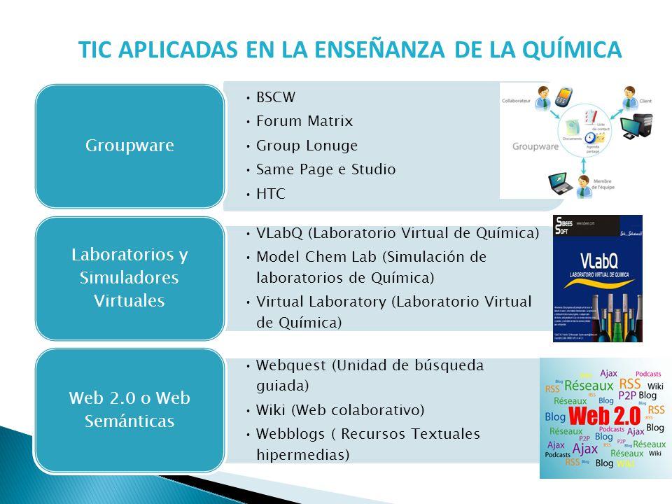 TIC APLICADAS EN LA ENSEÑANZA DE LA QUÍMICA BSCW Forum Matrix Group Lonuge Same Page e Studio HTC Groupware VLabQ (Laboratorio Virtual de Química) Mod