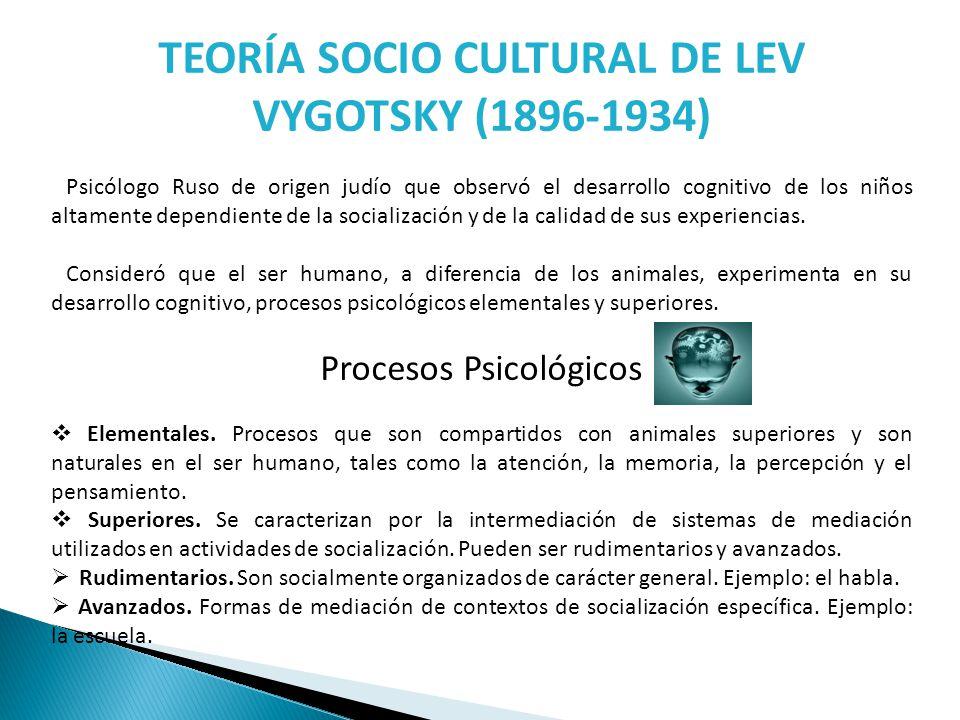 TEORÍA SOCIO CULTURAL DE LEV VYGOTSKY (1896-1934) Psicólogo Ruso de origen judío que observó el desarrollo cognitivo de los niños altamente dependient