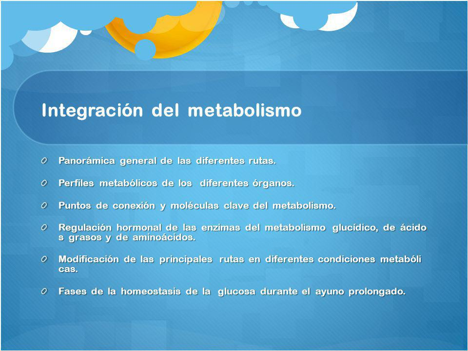 Integración del metabolismo Panorámica general de las diferentes rutas. Perfiles metabólicos de los diferentes órganos. Puntos de conexión y moléculas