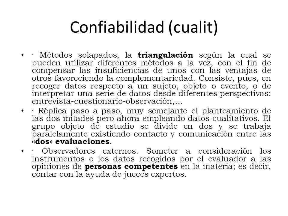 Confiabilidad (cualit) · Métodos solapados, la triangulación según la cual se pueden utílizar diferentes métodos a la vez, con el fin de compensar las insuficiencias de unos con las ventajas de otros favoreciendo la complementariedad.