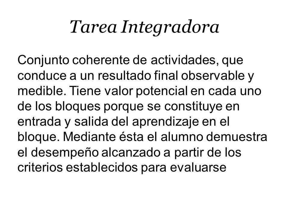 Tarea Integradora Conjunto coherente de actividades, que conduce a un resultado final observable y medible.
