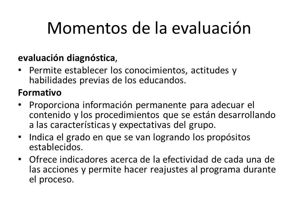 Momentos de la evaluación evaluación diagnóstica, Permite establecer los conocimientos, actitudes y habilidades previas de los educandos.