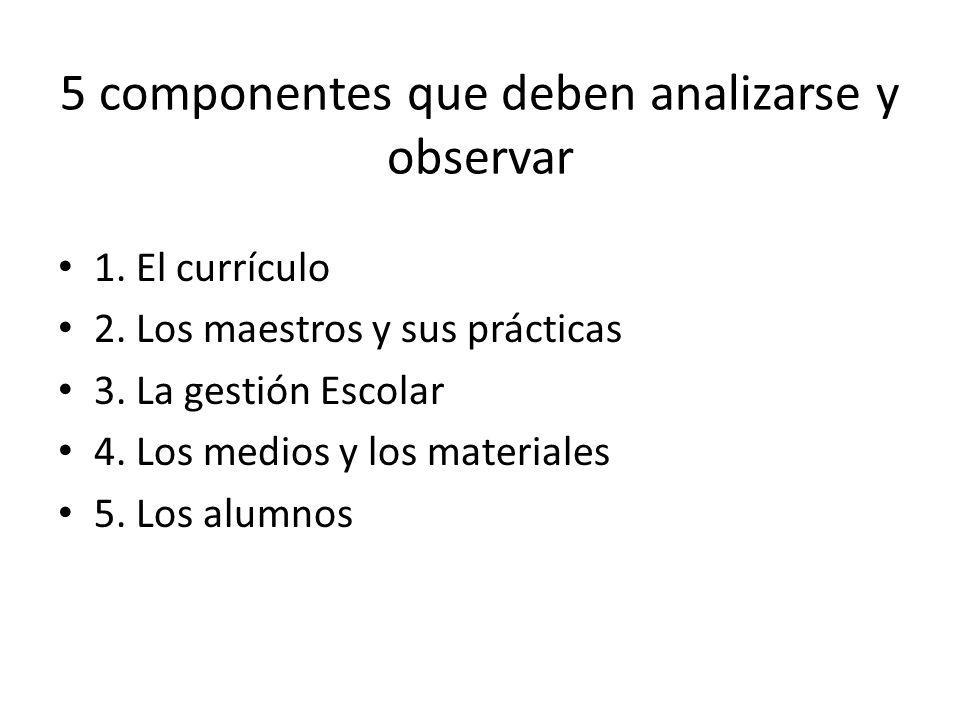 5 componentes que deben analizarse y observar 1.El currículo 2.