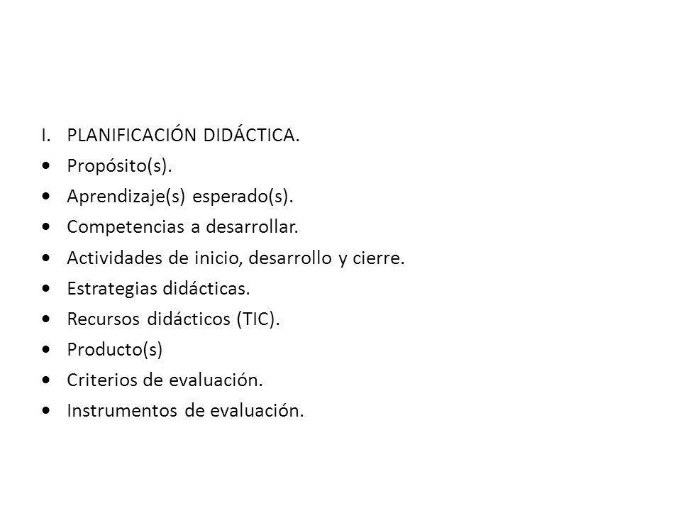 I.PLANIFICACIÓN DIDÁCTICA.Propósito(s). Aprendizaje(s) esperado(s).